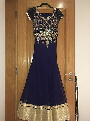 Anarkali Blue/black Dress In Size 6/8/indian Wedding Outfit/ling Gown