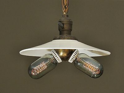 Antique Pendant Light Fixture with Flat Opal Shade and Benjamin Cluster Socket