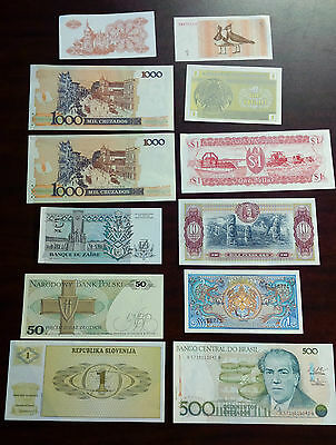 Lot of 12 Foreign Currency Paper Bank Notes