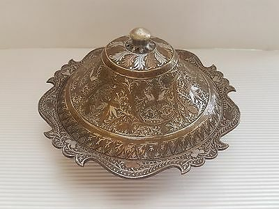 Vintage Asian Solid Bronze Engraved Hand Etched Lidded Serving Dish