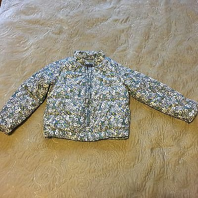 BABY GAP Girls Flower Print Pattern Warm Winter Coat With Grey Lining 4-5 Years