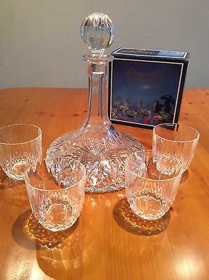 Beautiful Heavy Cut Glass / Crystal Ships Decanter & Glasses