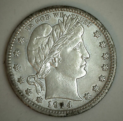 1914 Silver Barber Quarter Twenty Five Cent US Type Coin Almost Uncirculated AU