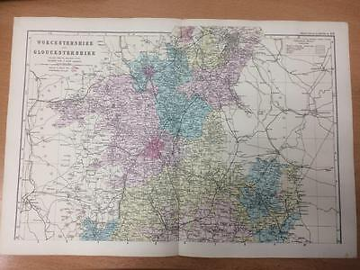 c.1890 Bacon Map of Worcestershire & Gloucestershire North