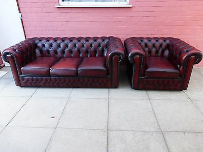 A Saxon Brown Leather Chesterfield Two Piece Suite