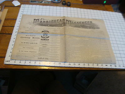 Vintage Early newspaper: THE MARBLEHEAD MESSENGER Oct 5, 1883