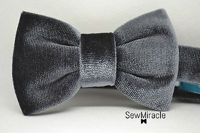 Velvet Bow Tie* Sizes 0-10*Grey Velvet Handmade Bow tie