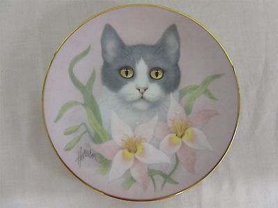 "Hamilton Collection Petals and Purrs ""Pink Lillies"" collector's plate"