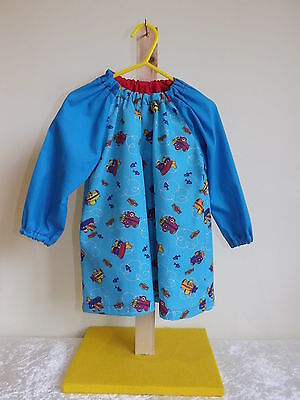 Younger Childs Art Smock Blue aeroplane with Blue Sleeves Coverall Bib 6m-3yrs