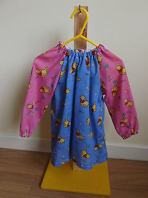 Younger Childs Art Smock Pink & Blue Winnie the Pooh Fabric Coverall Bib 6m-3yrs