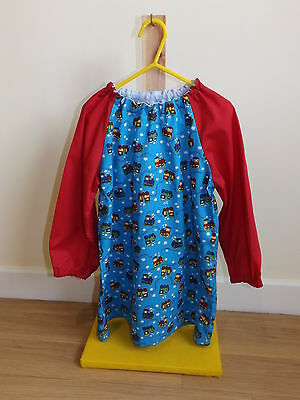 Older Childs Art Smock in Blue Train Fabric Coverall Bib 4-6yrs Red sleeves