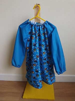 Older Childs Art Smock in Blue Train Fabric Coverall Bib 4-6yrs Blue sleeves
