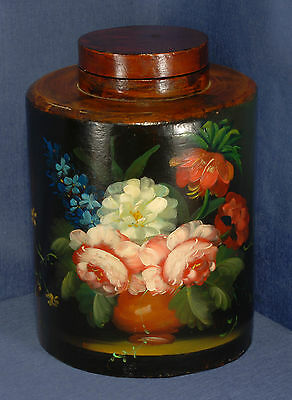 Victorian Style Painted Wooden Storage Jar with Painted Floral Scene