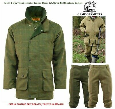 Men's Derby Game Tweed Jacket or Breeks, Breeches, Trousers. Shooting, Beating