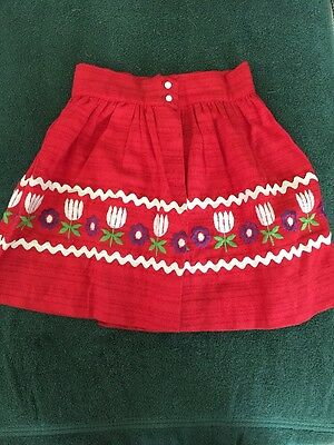 VTG 50S CHILDS RED LINEN CIRCLE SKIRT W/ EMBROIDERY Free Ship!!