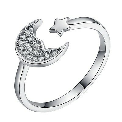 Sterling Silver 925 Plated Moon & Star Finger/Midi/Toe Ring R46