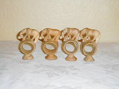 4 Rustic  Wooden Elephant Napkin Rings