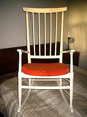 Vintage Solid Wood, white painted traditional Rocking Chair, with orange cushion