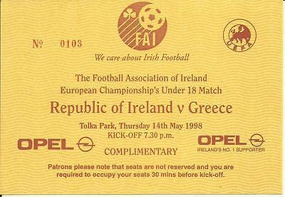97/98 REPUBLIC of IRELAND v GREECE UNDER 18 PLAYED @ TOLKA PARK on 14th MAY 1998