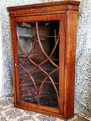 19th Century Antique Large Glazed Oak Hanging Cupboard May Deliver
