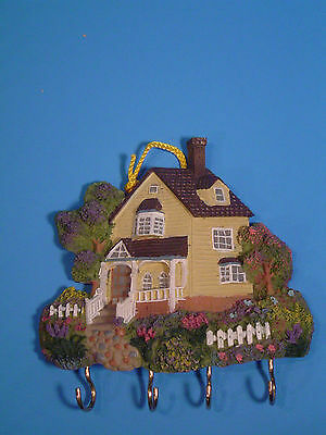 NEW Beautiful Yellow Resin Victorian House Key Minder for Wall