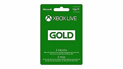Microsoft Xbox LIVE 3 Month Gold Membership (Physical Card) - Xbox One 3 Months