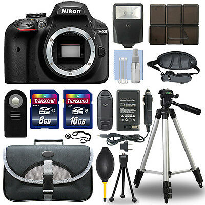 Nikon D3400 24.2 MP Digital SLR Camera Body + 24GB Top Accessory Bundle
