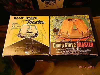 Lot of 2 Vintage Camp Stove 4-Slice Bread Toast Wire Toaster New in box 1971