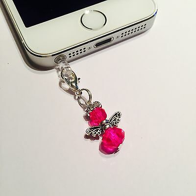 Hot Pink Angel Mobile Phone Charm For iPhone,iPad,Tablet ,Dust Plug