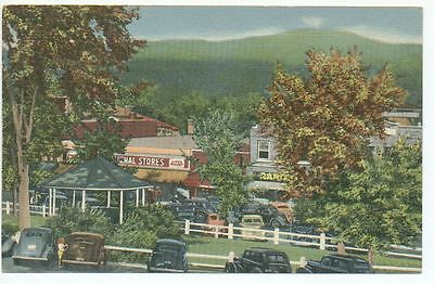 NH Plymouth New Hampshire Common and Main Streets Looking East Linen Postcard
