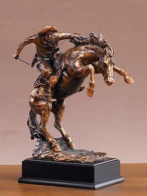 """Pony Express on Horse American West Bronze Figurine Statue 8.5""""x 11"""""""