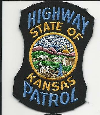 Highway Patrol State of Kansas Ks OLD Felt with cheese cloth back