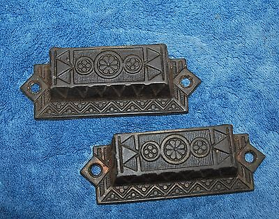 2 Antique Primitive cast Iron Drawer cabinet pulls Flowers and Chevron pattern