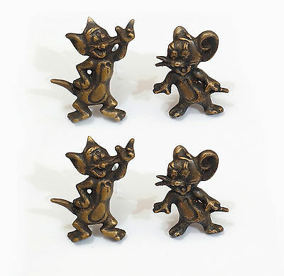 Lot 2 pairs Vintage Tom & Jerry  cartoon Solid Brass Cabinet Handle Pulls