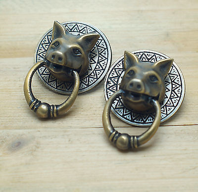 Set of 2 pcs Vintage Farm PIG Piggy head Solid Brass Cabinet KNOB Pull Handle