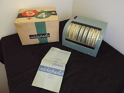 Antique Adding Machine Calculator in Original Box w/ Instructions Made in Italy