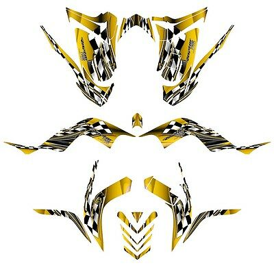 Yamaha Raptor 700 graphics 2006-12 full coverage decal kit #2500 yellow