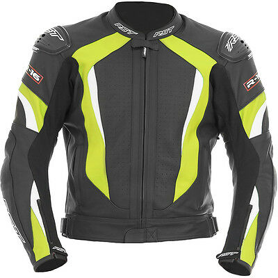 RST R-16 Leather Mens Black Fluro Yellow Motorcycle JACKET Racing Track Clothing