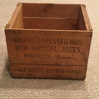 Vintage Wood Advertising Box Crate Krakus Brand Chopped Pressed Ham of Poland