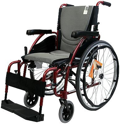 Karman Healthcare Ergonomic Wheelchair in 18-Inch Seat, Red Frame