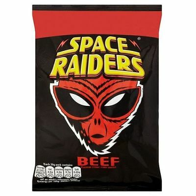 Space Raiders 20g box of 40 Packs BEEF FLAVOR Price Marked ONLY £8.99