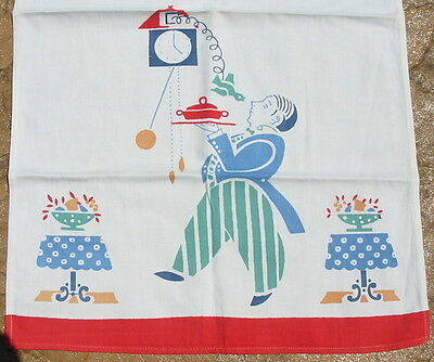 Vtg Cotton Cloth Retro Red Colorful Kitchen Jeeves ButlerTowel Cuckoo Clock Old