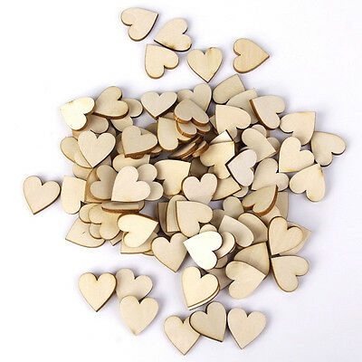 50/100 Wooden Love Heart Wedding Table Scatter Confetti Supplies Crafts DIY Gift