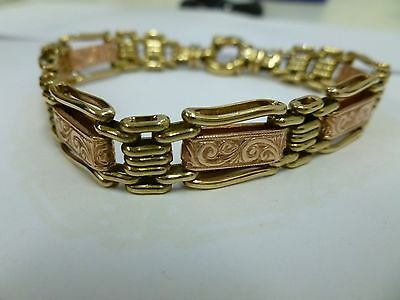9CT Rose and Yellow Gold Gate Link Bracelet