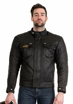 RST IOM Short Waxed Cotton Motorcycle Jacket Winter Road Bike