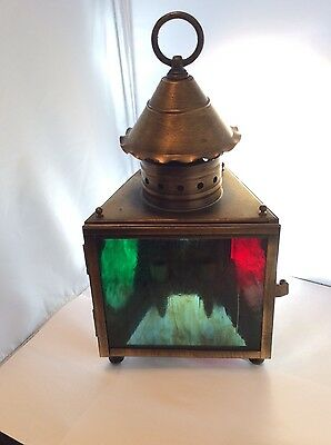 Georgian Art Lighting stain glass desk / wall lamp, red green, electric / candle