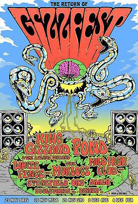 GIZZFEST 2016 KING GIZZARD & THE LIZARD WIZARD POND STONEFIELD A2 Poster ***NEW