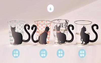 Creative Cat Glass Mug Tea Milk Coffee Cup with Handle Birthday Kids Gift 4 Type