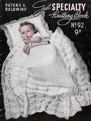 Vintage KNITTING PATTERN Patons Baby Shawls Blanket Rug Throw 3 Ply COPY