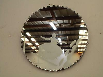 C48011 Small Vintage ART DECO Round Mirror with Etched Ballerina